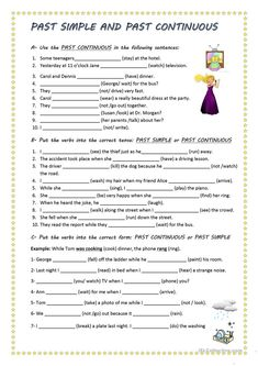 Past Simple and Past Continuous worksheet - Free ESL printable worksheets made by teachers English Fun, English Lessons, Learn English, Grammar Tips, Grammar Lessons, Past Tense Worksheet, Presente Simple, Simple Past Tense, Grammar Exercises