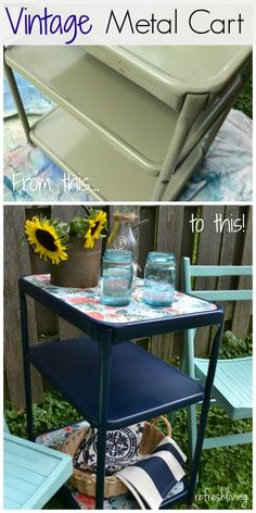 An old vintage metal cart gets a new look with spray paint and paper.