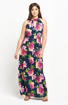 Flower Power! Piękna, długa sukienka z nadrukiem w kwiaty marki So Fabulous, dostępna od  roz. 42 do roz. 56, 289 zł na http://www.halens.pl/moda-damska-sukienki-dugie-sukienki-26191/sukienka-maxi-577234?imageId=400868&variantId=577234-0382