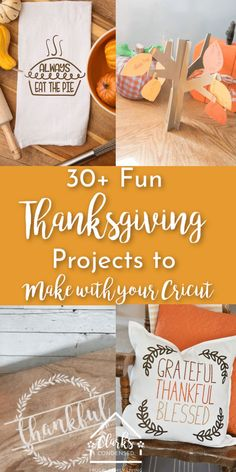 Cricut Thanksgiving Projects You'll LOVE! – Clarks Condensed 30 Fun Thanksgiving Projects to Make With Your Cricut Thanksgiving Crafts For Kids, Thanksgiving Parties, Thanksgiving Table, Diy Place Settings, Table Settings, Preschool Crafts, Diy Crafts, Simple Crafts, Thankful Tree