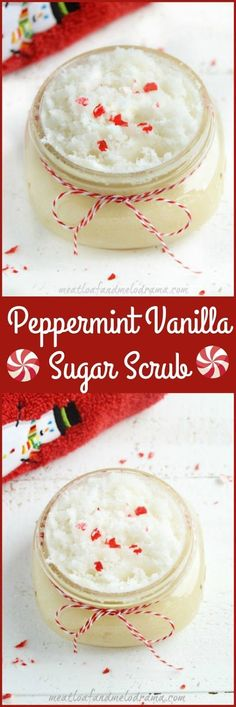 Homemade Peppermint Vanilla Sugar Scrub. This is easy to make and perfect for DIY gift giving for Christmas or holidays!
