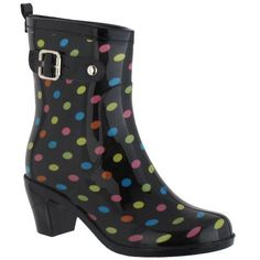 Capelli New York Multi Dot With Buckle And Pull Loop Ladies Heeled Jelly Rain Boot Capelli New York. $24.99