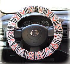 Steering wheel cover wheel car accessories Aztec Neon Orange Steering Wheel Cover on Etsy, $12.90