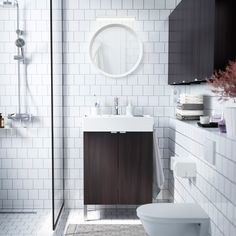 Ikea- A small white bathroom with LILLÅNGEN washbasin and wall cabinets in black brown. Small White Bathrooms, White Bathroom Tiles, Ikea Bathroom, Family Bathroom, Modern Bathroom, Small Bathroom, Bathroom Ideas, Bathroom Layout, Bathroom Furniture Design