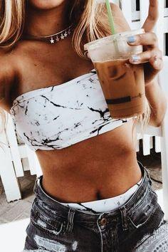 Marble Print Bandeau Bikini Set - New Ideas Summer Bathing Suits, Cute Bathing Suits, Summer Suits, Bathing Suit Top, Cute Swimsuits, Cute Bikinis, Lingerie Design, Fashion Design Inspiration, Party Kleidung