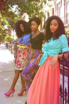3 natural beauties. Love their outfits too