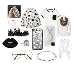 """""""ghostkin"""" by kittyshipurr on Polyvore featuring Dr. Martens, Casetify, Kai-aakmann, Lipsy, ZeroUV and Lime Crime"""