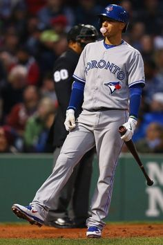 Ryan Goins after strike call in Boston. Blue Jay Way, Go Blue, Baseball Toronto, Baseball Boys, Baseball Stuff, Baseball Pictures, Photo Blue, Toronto Blue Jays, Team Photos