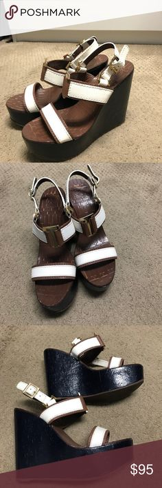 Tory Burch women's sandal size 7.5. navy Beautiful wedge Tory Burch Navy and White sandals size 7.5. Easy to wear beautiful gold detailing. Gently worn.  No trades. Tory Burch Shoes Sandals