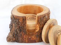 Wooden Rustic Coaster set with Rustic Holder / by TunisiaHandMade,