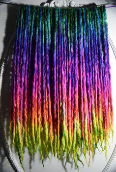 """Tie-Dye-Rainbow"" Wool Dreads 42DE 20""-24"" Long (40""-48"" Total Length)  Available here: https://www.etsy.com/listing/260481729/42de-tie-dye-rainbow-wool-dreads-20-24?ref=shop_home_active_9 by Cheyenne Le Hale  (NVCL3ARBVTT3RFLY)"