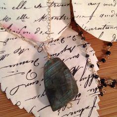 Labradorite bead on solid 14k chain coryboan@gmail.com