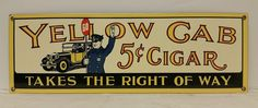 """Vintage Style Ande Rooney Porcelain """"Yellow Cab 5¢ Cigar"""" Advertising Sign NOS #AndeRooney"""