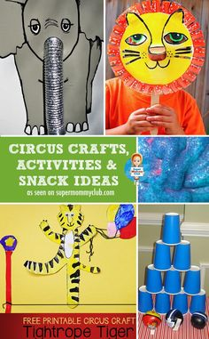 For when we do a circus themed family night at church. Planning a Tot School Circus week? This is great round up of circus activities, crafts and snack ideas so all we have to do is have fun with the kids! Carnival Activities, Carnival Themes, Preschool Crafts, Toddler Activities, Preschool Activities, Circus Crafts Preschool, Carnival Classroom, Preschool Learning, Teaching