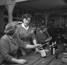 Women in the whiskey production line at Canada's Hudson Bay Company, date unknown.