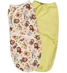 Summer Infant Конверты для пеленания на липучке 2 шт. SwaddleMe (желто-зеленый, джунгли), размер S/M  — 1620р.  75620 SWADDLEME® Конверт для пеленания на липучке 2 шт/упаковка, размер S/M, рисунок - джунгли