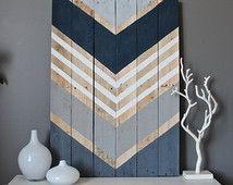 Modern Rustic Chevron wood wall art sign