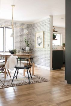 Before & After: A Budget Conscious Kitchen and Dining Room Makeover / Design*Sponge Dining Room Design, Dining Room Furniture, Dining Rooms, Room Chairs, Home Design, Design Ideas, Mid Century Modern Dining Room, Mid Century Modern Wallpaper, Galley Kitchen Remodel