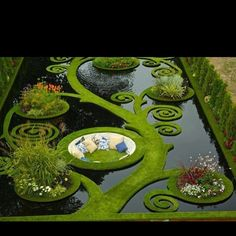 Hidden garden maze seating area.: Modern Gardens , Gardens Ponds, Water ...