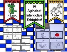 Teach your children the alphabet by using interactive foldables! So much fun!Included:26 foldables (One top page and one bottom page for each letter of the alphabet.)Uses the sentence frame...A is for ______.