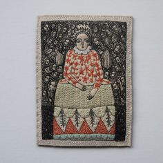 Image of portrait of a fine woman (autumn into winter) - embroidery artwork