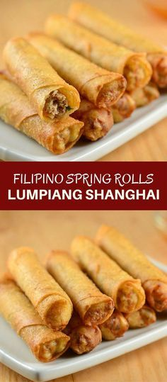 Lumpiang Shanghai filled with ground chicken, water chestnuts, and green onions. Golden, crisp and in fun bite-size, these Filipino meat spring rolls are absolutely addicting! via food recipes Filipino Recipes, Asian Recipes, Filipino Food, Lumpia Recipe Filipino, Filipino Egg Rolls, Comida Filipina, Chicken Spring Rolls, Thai Spring Rolls, Asian Cooking