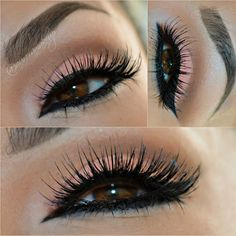 This soft cut crease smokey eye uses light pink and brown eyeshadow shades, and is finished with long false lashes. See the products used to DIY this elegant formal look.