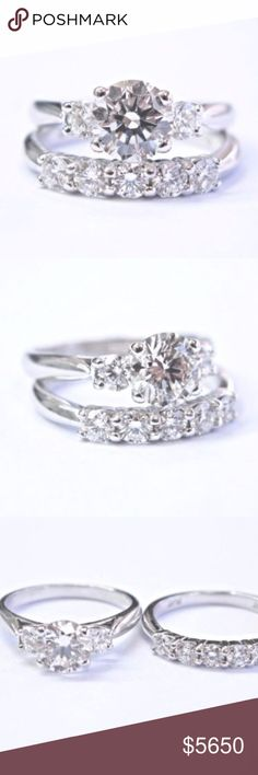 Scott Kay Platinum Round Cut Diamond Engagement We Here is a Fine Platinum Diamond Engagement Wedding Set. Made from Solid Platinum 950 and weighs 7.8 grams. It holds 1 Natural Round Brilliant Diamond in the center that is 1.00Ct I Color SI2 Clarity ( 100% EYE CLEAN )IGI Certified. On the sides and the 2nd band you are looking at .45Ct of Natural Round Brilliant Diamonds H-I Color VS Clarity. The set is currently a size 5 which can be sized for FREE Upon request. Hallmarked PLAT, SCOTT KAY…