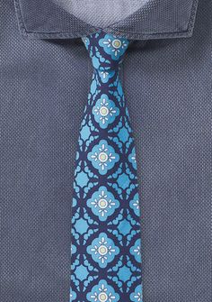 Mexican Tile Print Skinny Tie in Aqua and Blue