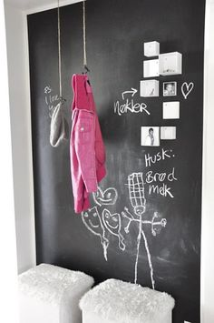 chalkboard entry with hanging coat and hat hooks