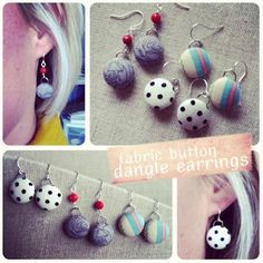DIY fabric button earrings by Amy Cornwell - also gives you an idea how to turn other kinds of buttons into earrings as well.