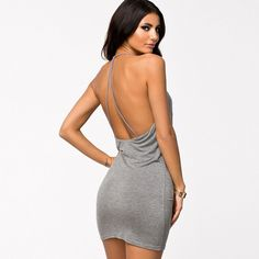 Halter Top Mini Dress Grey