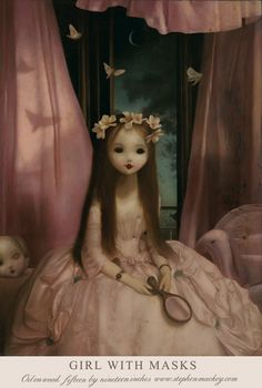 """""""Girl with Masks""""~oil on wood painting by Stephen Mackey, 2015"""