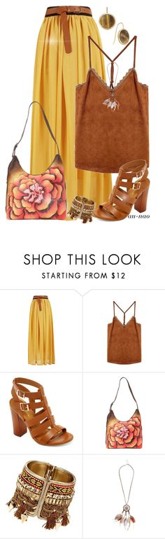 """""""Brown and yellow."""" by an-nao ❤ liked on Polyvore featuring Bamboo, Anuschka, New Look and Lauren Ralph Lauren"""