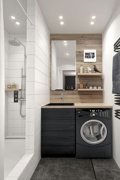 Eclectic Single Bedroom Apartment With Open Floor Plan. A small bathroom with built in laundry tucked under the counter is a finishing touch on this efficient but stylish design. Apartment Interior Design, Bedroom Apartment, Bathroom Interior, Small Bathroom Floor Plans, Laundry In Bathroom, Laundry Rooms, Bathroom Small, Small Laundry, Smallest Bathroom