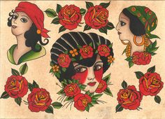 Beautiful Traditional Girl Heads & Roses Tattoo by 111byPatience