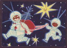 1967 Soviet Space Santa  santa rocket christmas boy astronaut
