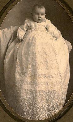 1890 ~ Baby in Beautiful Long Christening Dress