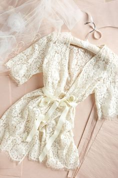 Lace robe for Bride when getting ready. I love the lace robe to get ready in! Wedding Wishes, Our Wedding, Dream Wedding, Lace Wedding, Wedding Ceremony, Wedding Bride, Wedding Stuff, Bridal Shower Gifts For Bride, French Wedding