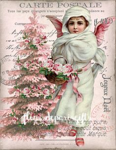 Shabby Chic Vintage Pink Christmas Angel Tree 1 Print on Fabric Make Quilt Pillow Stocking FB 109 Christmas Angels, Christmas Holiday, Holiday Cards, Christmas Decor, Southern Christmas, Snow Angels, Christmas Porch, Christmas Paper, Xmas