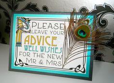 Guest Book Sign   Art Nouveau   Peacock   Great Gatsby
