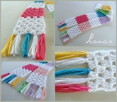 Granny stitch scarf in pastel colours - perfect for a child or teen!   Graph provided.  Easy as a first crochet attempt?   (Lanas de Ana)
