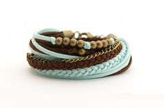 Wrap Bracelet, Boho Bracelet , Leather wrap, Mint Brown Boho bracelet, suede, double wrap, boho chic on Etsy, $24.00