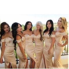 Bridesmaid Dresses Champagne Satin Mermaid Floor Length Bridesmaid