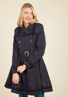 A Welcomed Moment Coat in Navy, #ModCloth