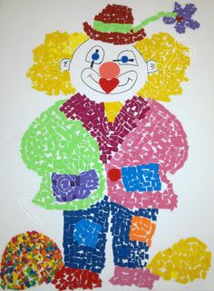 I could have children make a torn paper clown. It takes time, but they're always so cute and unique. Clown Crafts, Carnival Crafts, Carnival Themes, Diy Crafts For School, School Art Projects, Circus Activities, Craft Activities For Kids, Drawing For Kids, Art For Kids