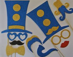 Wedding Photo Booth Party Props Big Top Theme Circus Theme blue and gold Mustache on a Stick Photo Booth Party Props Photo Booth Party Props, Baby Shower Photo Props, Baby Shower Photos, Wedding Photo Booth, Wedding Photos, Photo Booths, Circus Birthday, Circus Theme, Circus Book