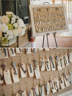 key escort cards seating / http://www.himisspuff.com/creative-seating-cards-and-displays/