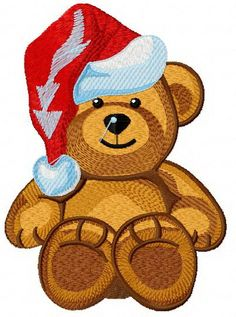 Christmas teddy bear machine embroidery design. Machine embroidery design. www.embroideres.com