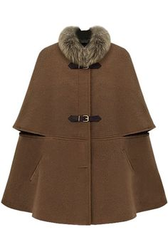 Shop Fitted Big Hasps Brown Cape at ROMWE, discover more fashion styles online. Long Brown Coat, Brown Wool Coat, Long Wool Coat, Big Brown, Wool Coats, Poncho Coat, Cape Coat, Fur Cape, Faux Fur Collar